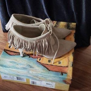 Bella Vita Shoes - Bella Vita Women's Diem Fringe Bootie in Almond